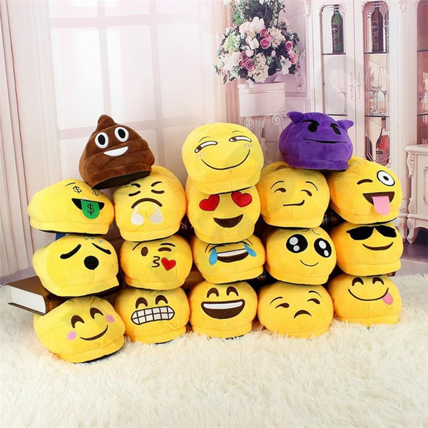 18Styles Emoji Slippers Cartoon Sweet Warm Plush Slipper QQ Expression Unisex Slippers Winter Household Casual Shoes 130pair T1I1027