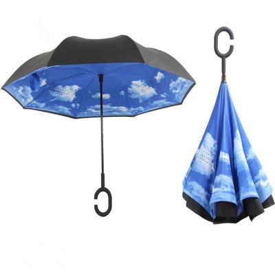 Inverted umbrella fully-automatic multi-color pongee c-handle inside out reverse folding windproof MINIMUM 17PCS FEDEX free shipping