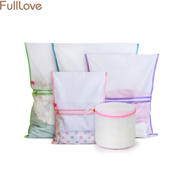 5PCS/Set Mesh Laundry Bags for Washing Machines 2018 New Patchwork Ziplock Laundry Bag for Dirty Clothes Travel Storage Bag