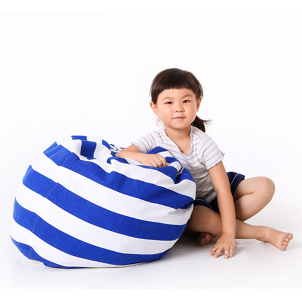 Creative Striped Stuffed Animal Storage Bean Bag Chair Canvas Kids Plush Toy Clothes Quilts Organizer Home Organization