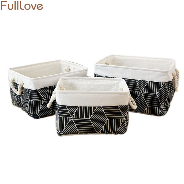 3PCS/Set Black Geometric Storage Basket for Toys Fabric Basket for Storage Sundries Books Container Clothes Organizer