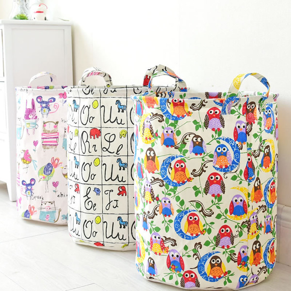45*35cm new home cotton linen storage bag folding fabric waterproof laundry basket storage bag