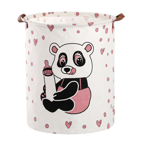 40*50cm New bottle panda cotton and linen hamper foldable fabric waterproof laundry basket laundry storage