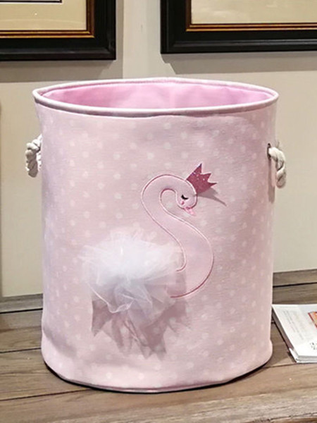 35*40cm Dirty Laundry Basket 2019 New Pink swan Organizer Basket Drawstring Storage Baskets for Toys Books