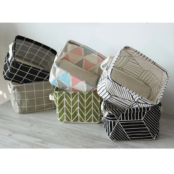 2PCS/Set Makeup Organizer Canvas Office Holder Plaid Geometric Print Jewelry Cosmetic Box Case Desk Storage Boxes Bins