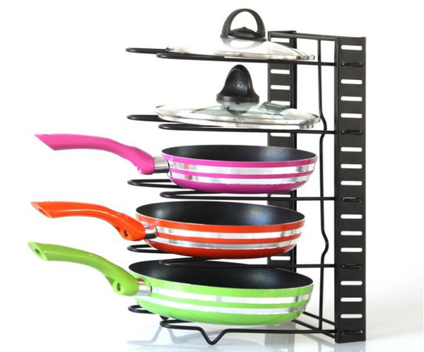 Pan Organizer Rack Kitchen Storage Cabinet Shelves Pot Holder for Roasting Frying Pans Lid Cutting Board etc Black White