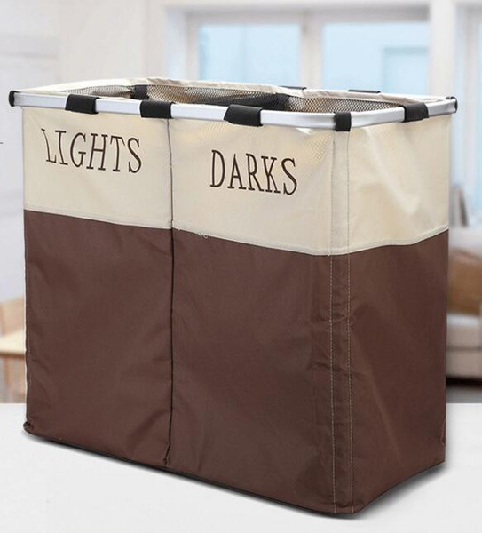 Giant Laundry Basket Foldable Easycare Double Hamper 2 Sections Laundry Hampers Clearly Marked Dual Baskets Storage