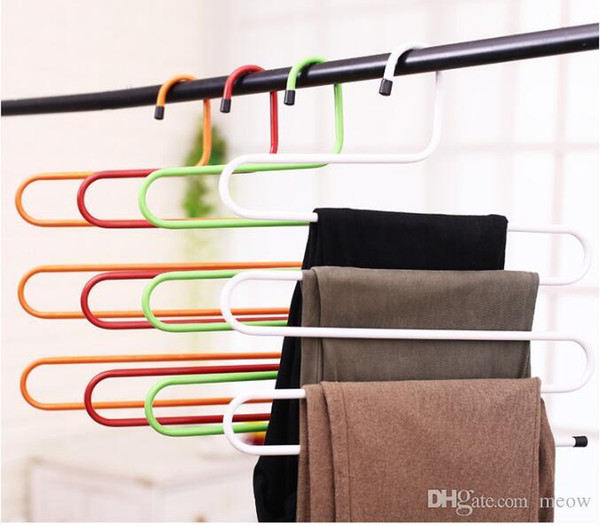 Giant S Shape Trousers Neat Metal Pants Hangers Closet Storage for Jeans Trousers Space Saver Storage Rack