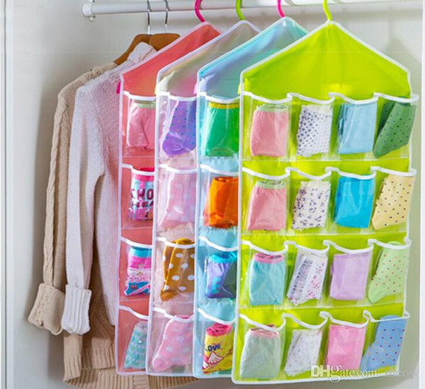 Underwear Socks Hanging Storage Bags Wall Wardrobe Pouch Sundries Accessories Organizer Cloth Bag Colorful 6 Patterns 16 Pockets 2015 New