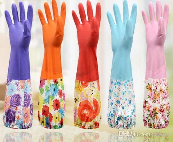 Extra Long Colorful Reusable Gloves Waterproof Household for Kitchen Dish Washing Laundry Cleaning Gardening Toilet PVC Material Anti Slip
