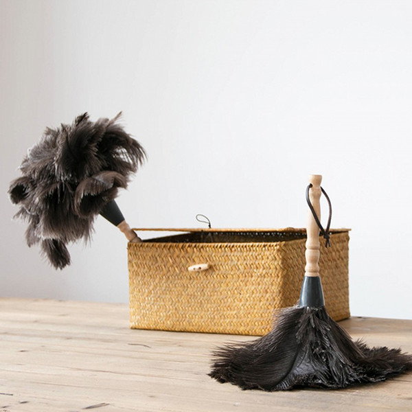Ostrich Natural Feather Duster Brush Wood Handle Anti-static Cleaning Tool Household Furniture Car Dust Cleaner with wooden Handle