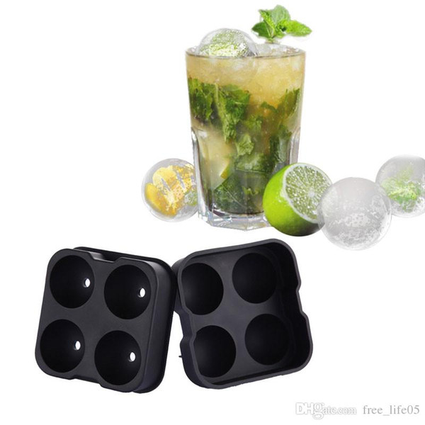 Cocktail Whiskey Ice Ball Maker Ice Cube Tray 4 Large Silicone Ice Molds Maker Kitchen Bar Accessories