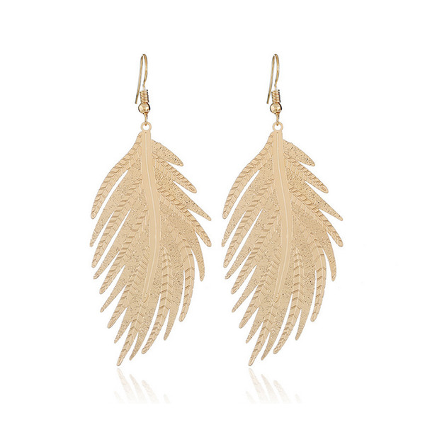 Women Feather Shaped Dangle Earring Tassel Long Earring for Gift Party Wedding Bridal Jewelry Accessories High Quality