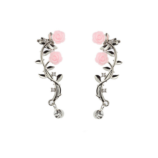 Women Rose Stud Earring Rhinestone Ear Cuff with Clip Silver Gold Gift for Love Girlfriend Boho Style Wholesale