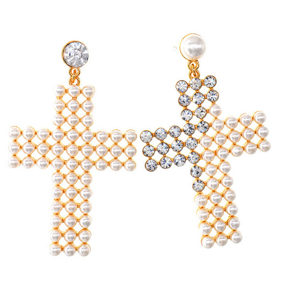 Women Pearl Rhinestone Cross Earring Bling Bling Cross Stud Earring Gift for Love Girlfriend Fashion Jewelry High Quality