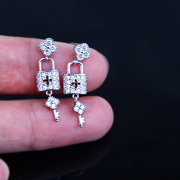 New Arrival 925 Silver Lock Key Stud Earring Women Girls Zircon Earring Gift for Love Girlfriend Luxury Designer Jewelry Fast Shipping