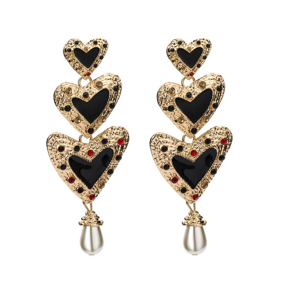 Women Brand Designer Long Stud Earring Heart Shape Earring Gift for Love Girlfriend Boho Style High Quality with Fast Shipping