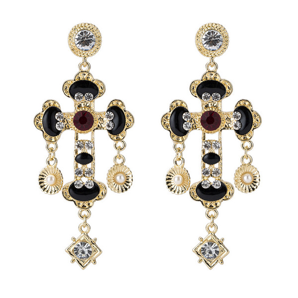 Luxury Designer Stud Earring for Women Retro Rhinestone Cross Long Earring for Gift Party Brand Jewelry Accessories Fast Shipping