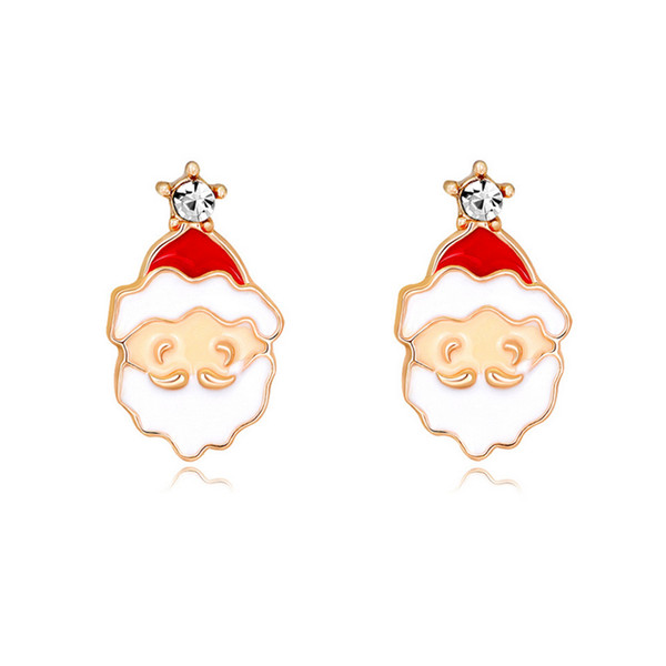 Cute Cartoon Christmas Santa Claus Stud Earring Women Rhinestone Earring Christmas Jewelry Gift with Fast Shipping