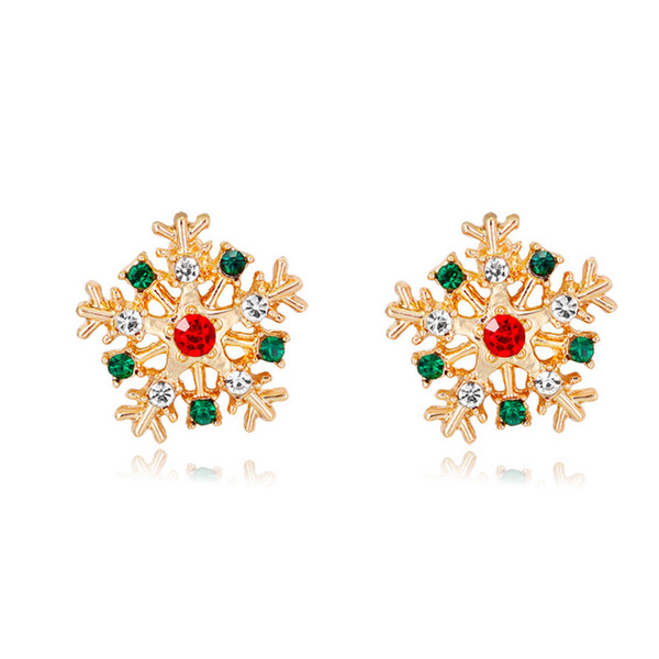 Christmas Snowflake Stud Earring Women Rhinestone Cute Christmas Earring for Gift Party Jewelry Accessories Fast Shipping