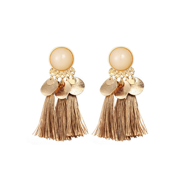 Boho Style Tassel Stud Earring Women Girls Resin Beach Ear Stud Earring for Gift Party Jewelry Accessories with Fast Shipping