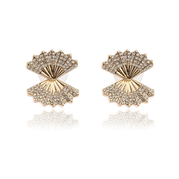 Women Shell Shape Stud Earring Fashion Design Rhinestone Earring Gift for Love Girlfriend Jewelry Accessories with Fast Shipping