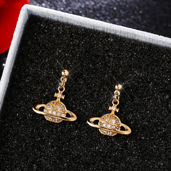 Women Rhinestone Planet Stud Earring Satelite Luxury Designer Earring for Gift Party Famous Jewelry Accessories Epacket Shipping