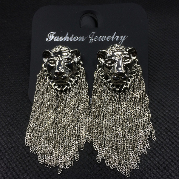 Women Lion Head Luxury Earring Long Chain Tassel Brand Designer Earring for Gift Party Famous Brand Jewelry Accessories