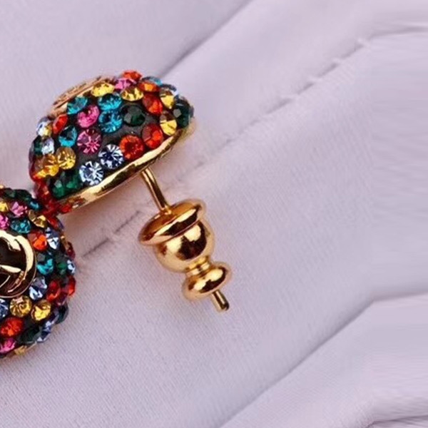 New Brand Designer Multicolor Rhinestone Stud Earring Luxury Earring with Stamps Famous Brand Jewelry Gift for Love High Quality
