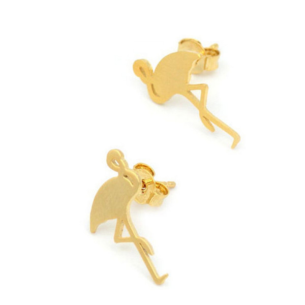 New Women Girls Flamingo Stud Earrings Animal Gold Silver Ear Stud Gift for Love Party Earrings Jewelry Accessories