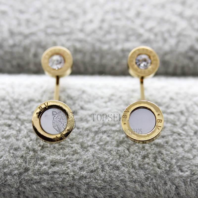 DASE047 Free Shipping Fashion Crystal new Earring Titanium Stainless Steel Stud Earrings Elegant for Woman Accessories Jewelry