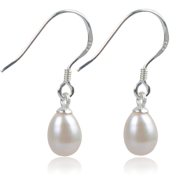 Elegant 925 Silver Hook Dangle Pearl Earrings Of 100% Natural Freshwater Drop Earrings For Women Girl Wedding Gift