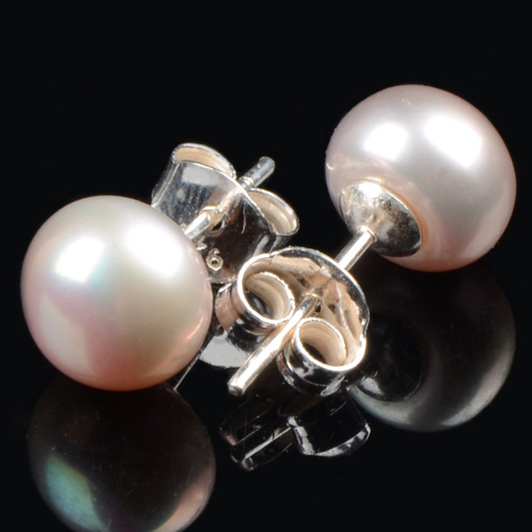 High quality 100% 925 sterling silver hook natural freshwater 8mm pearl stud earrings for women wedding fine gift