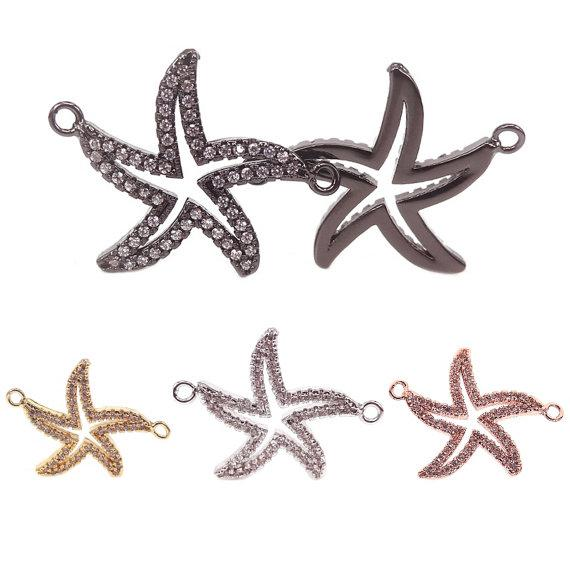 Copper Micro Pave Clear CZ starfish Connector For Bracelets Making,Gold RoseGold Silver Black Plated starfish Pendant Charms,Beach charms