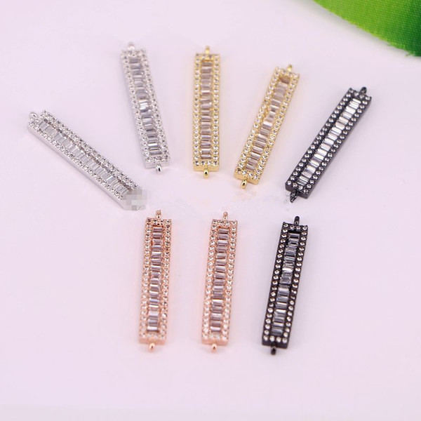 10Pcs Sparkly CZ Micro Pave Connector Beads, Fashion Long Rectangle Bar Crystal Pendant Beads Charms