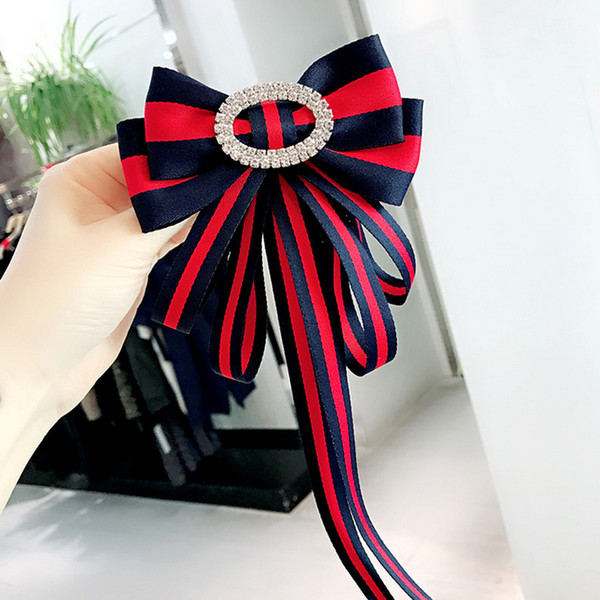 Women Big Bowknot Luxury Bouquet Brooch Designer Red Green Stripe Rhinestone Collar Lapel Pin Luxury Brand Jewelry Gift