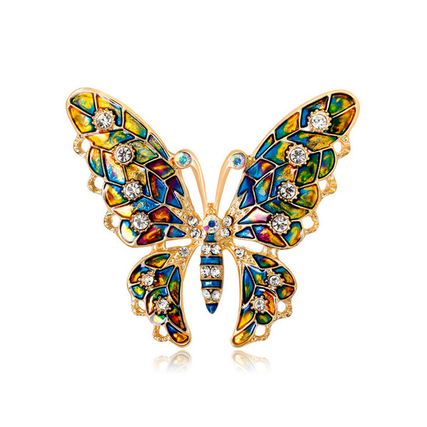 Multicolor Rhinrstone Butterfly Brooch 5.3*4.6cm Women Girls Suit Lapel Pin Jewelry Accessories for Gift Party with Fast Shipping