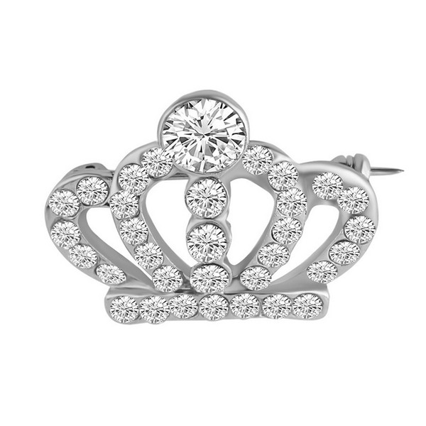Women Girls Rhinestone Hollow Crown Brooch Tiara Suit Lapel Pin for Wedding Bridal Jewelry Accessories Gift for Love Wholesale Fast Shipping