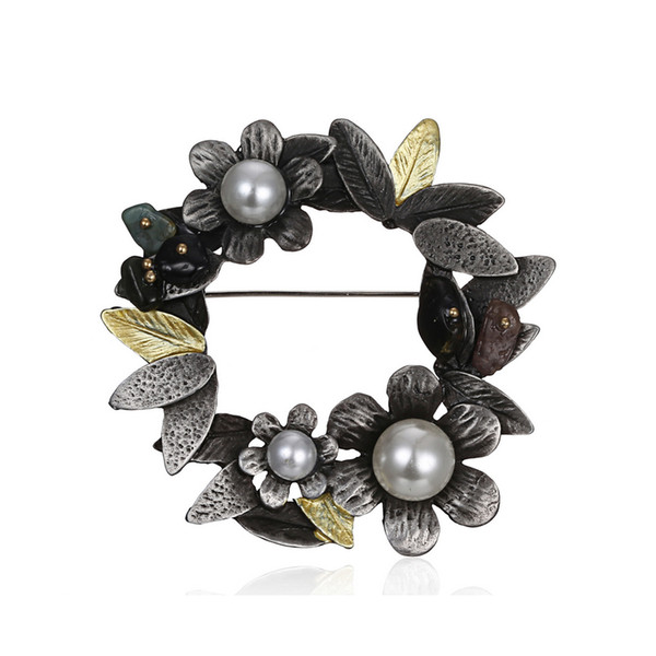 Women Vintage Flower Pearl Brooch Multistyle Retro Suit Lapel Pin Scarf Buckle Jewelry Accessories for Party Gift