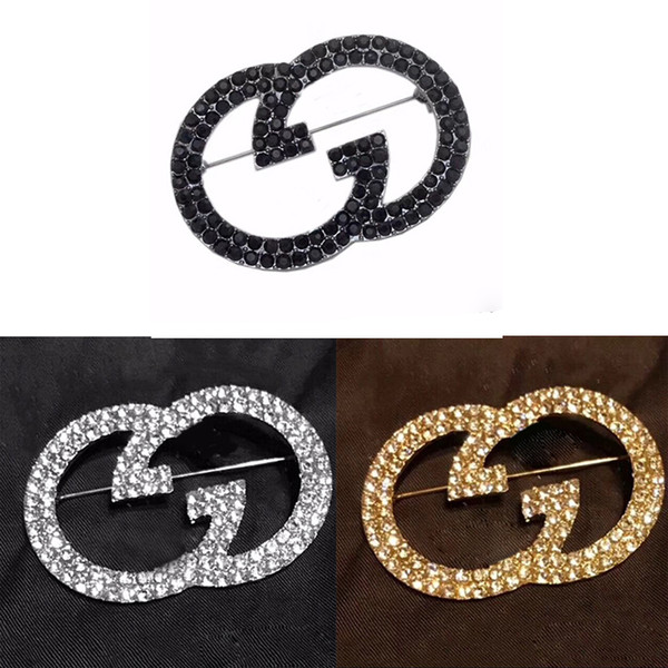 New Arrival Rhinestone Letter G Brooch Women Bling Bling Rhinestone Designer Letter Brooch Suit Lapel Pin for Gift Party 3 Colors