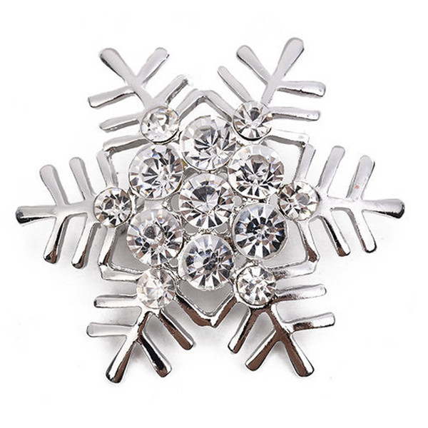 Christmas Rhinestone Snowflake Brooch for Women Gold Silver Suit Lapel Pin Christmas Jewelry Gift with Fast Shipping