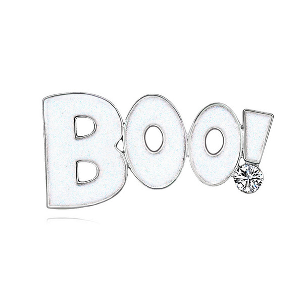 Halloween Letters Boo Brooch 2.5*5.1 Cm Rhinestone Suit Lapel Pin for Gift Party Halloween Costume Festival Jewelry Accessories