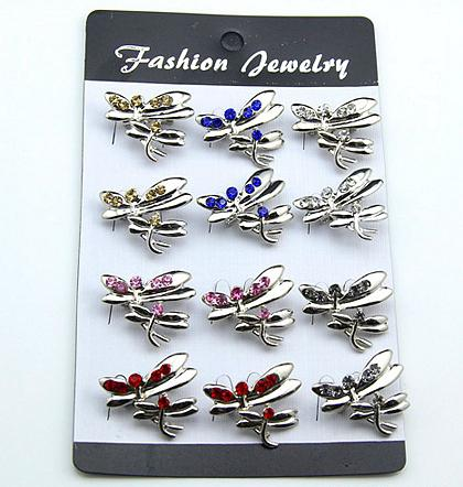 Fashion mini dragonfly rhinestone collar brooches for women jewelry decoration brooch pins