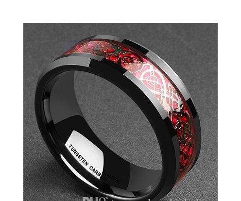 Black Tungsten Carbide Ring Dragon Wedding Ring with Black Carbon Fiber and Red Dragon Inlay 406