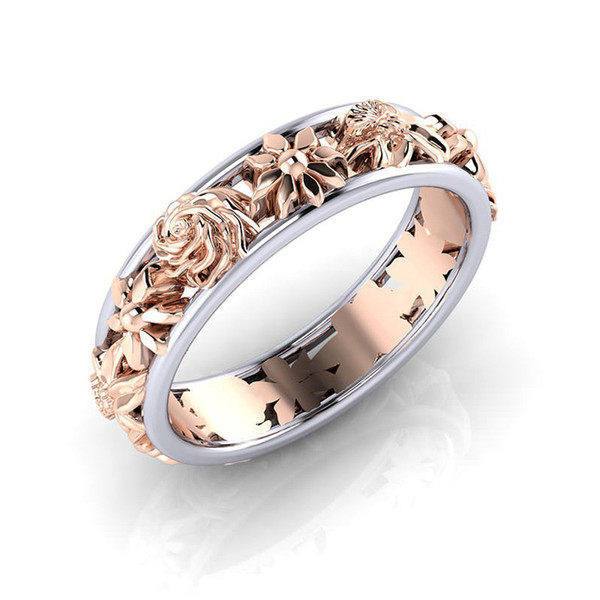 Contrast Color Rose Gold Flower designer Ring Band Rings for Women Christmas Gift wedding desingers rings drop shipping