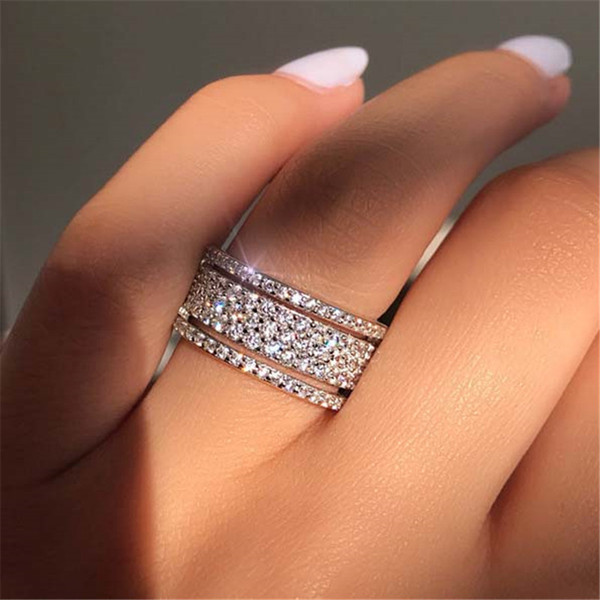 Exquisite Bridal Wedding Rhinestone Ring Princess engagement rings for women wedding rings sets diamond ring 2020 hot sale