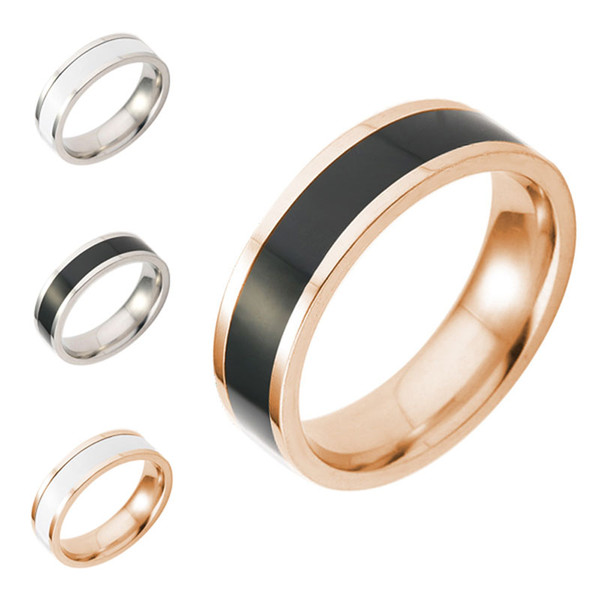 Titanium Black White Finger ring Rose Gold Simple Band Rings Two Tone ring Couple Rings for Women Men Fashion Lovers Jewelry