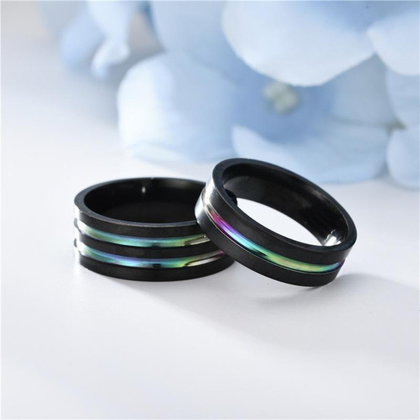 Stainless steel rainbow ring Black groove mens rings luxury designer jewelry women rings luxury designer jewelry women rings fashion 080524