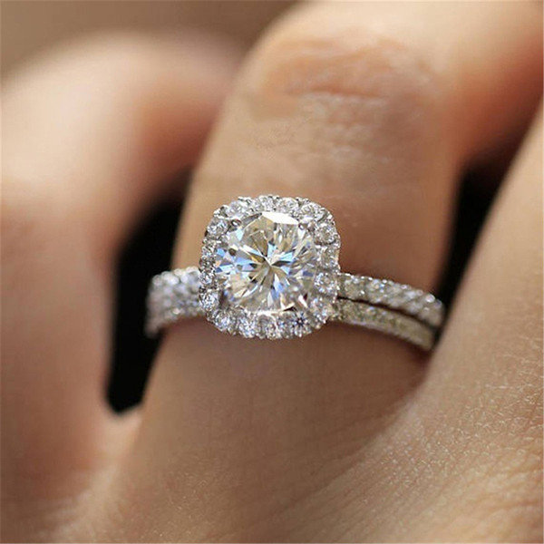 Heart Set brial wedding Ring jewelry Female Fashion Charm engagement nail rings engagement rings for women diamond ring 2020 hot sale