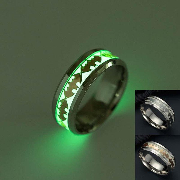 Fashion Stainless Steel Batman Pattern Ring New Design Luminous Ring Glow In The Dark for Couples Man luxury designer jewelry women rings